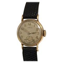 9 Karat Gold Vintage 1950s Ladies Swiss Wristwatch