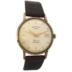 9 Karat Gold Vintage 1960s Rotary Viscount 21 Jewels Watch