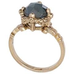 9 Karat Rose Gold and Black Diamond Delicate Garland Ring