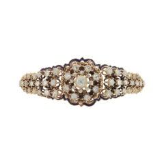 9 Karat Rose Gold and Rose Cut Diamond Hinged Bangle