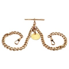 9 Kt Rose Gold Double Albert Gentleman's Pocket Watch Chain and 18 Kt Fob