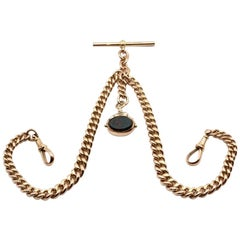 9 Kt Rose Gold Double Albert Watch Chain with Bloodstone and Carnelian Fob
