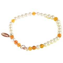9 Karat Rose Gold Freshwater Pearls Baltic Amber Rondelle Beaded Bracelet
