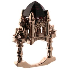 William Llewellyn Griffiths 9 Kt Rose Gold Garnet Omniscient Soul Cathedral Ring