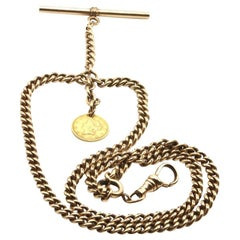 9 Kt Rose Gold Gentleman's Pocket Watch Chain with 18 Kt Gold Dollar Fob
