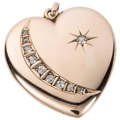 9 Karat Rose Gold Heart Shaped Crescent and Star Locket