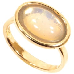 9 Karat Rose Gold Moonstone Ring Handcrafted in Italy by Botta Gioielli