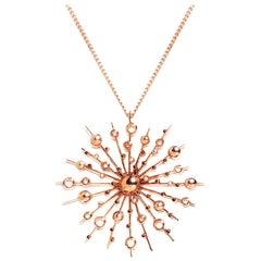 9 Karat Rose Gold Soleil Pendant Chain Necklace Natalie Barney