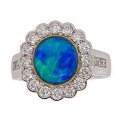 9 Karat White Gold Opal Diamond Cluster Ring