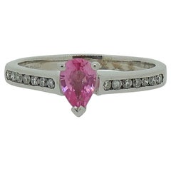 9 Karat White Gold Pink Sapphire Solitaire Ring with Diamond Shoulders