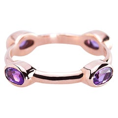 "Ugolini Yellow Gold Intense Amethyst ""Violet Wheel"" Stacking Fashion Ring"