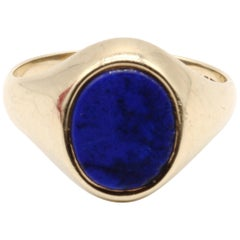 9 Kt Yellow Gold and Lapis Lazuli Oval Faced Gentleman's Signet Ring