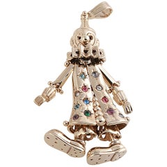 9 Karat Yellow Gold and Multicolored Stones Clown Pendant