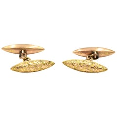 9 Karat Yellow Gold Antique Chain Link Cufflinks with Original Box