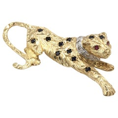 9 Kt Yellow Gold Cartier Style Jewel Encrusted Panther Tie Pin/Lapel Brooch