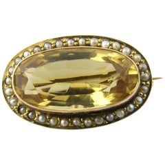 9 Karat Yellow Gold Citrine and Seed Pearl Brooch or Pin