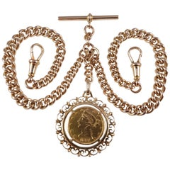 9 Karat Yellow Gold Double Albert Watch Chain and 1881 $5 Gold Coin, 70.6 Grams