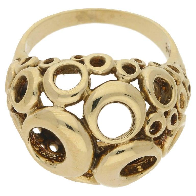9 Karat Yellow Gold Dress Ring For Sale