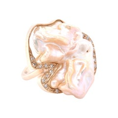 9 Karat Yellow Gold Freeform Mother of Pearl and Diamond Ring