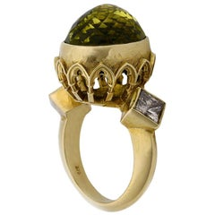 Chloris Ring Gothic Arch 9 Karat Yellow Gold Lemon Quartz and Diamonds