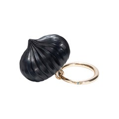 9 Karat Yellow Gold, Hand Carved Ebony, Temple Indian Dome Ring in Blue Diamond