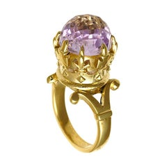 9 Karat Yellow Gold, Morganite Imperial Crown Ring