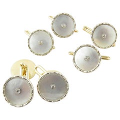 9 Karat Yellow Gold Mother of Pearl and Diamond Tuxedo Buttons and Cufflinks