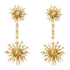 9 Karat Yellow Gold Soleil Drop Earrings Natalie Barney