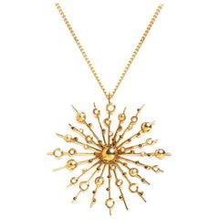 9 Karat Yellow Gold Soleil Pendant Chain Necklace Natalie Barney
