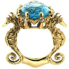 9 Karat Yellow Gold, Swiss Blue Topaz, Diamonds & Pearls Crowned Oceanides Ring