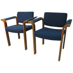9 Mid-Century Modern Oak Bentwood Dining, Conference Chairs