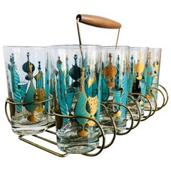 9-Piece Set of Aqua & Gold Print on Clear Glass Cocktail Glasses w/ Brass Caddy