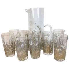 9-Piece Vintage Barware, Signed Gregory Duncan, Dandelion, Pitcher and 8 Glasses