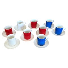 9 Red, White and Blue Demitasse Cups and Saucers