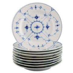 9 Royal Copenhagen Blue Fluted Plain Lunch Plates, Model Number 1/178