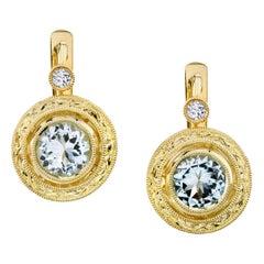 1.00 ct. t.w. Diamond 18k Yellow Gold Bezel Lever Back Engraved Drop Earrings