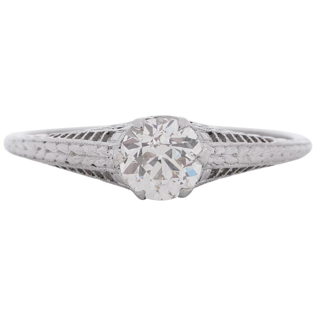 .90 Carat Art Deco Diamond Platinum Engagement Ring