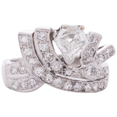 .90 Carat Art Deco Shield Diamond Platinum Engagement Ring