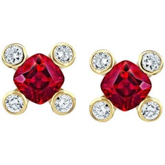 .90 Carat Cushion Red Ruby and Diamond 18k Yellow Gold Earrings