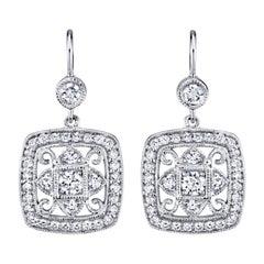 .90 Carat Diamond 18 Karat White Gold Leverback Earrings
