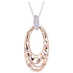 .90 Carat Diamond Rose Gold Open Oval Pendant Necklace