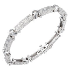 .90 Carat Diamond White Gold Byzantine Bracelet