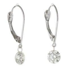 .90 Carat Diamond White Gold Dangle Earrings