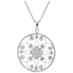 .90 Carat Diamond White Gold Pendant Necklace