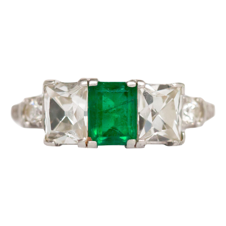 .90 Carat Emerald Platinum Engagement Ring
