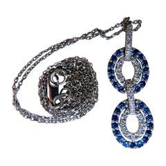 .90 Carat Natural Sapphire Diamonds Double Loop Link Necklace 14 Karat