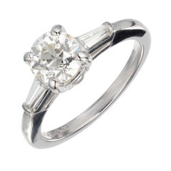 .90 Carat Old European Cut Diamond Platinum Three-Stone Engagement Ring