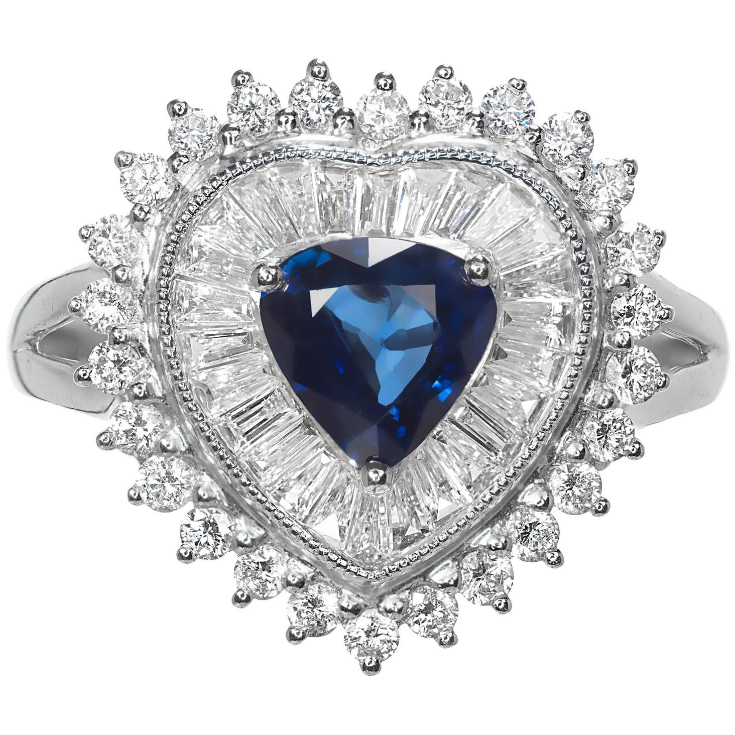 .90 Carat Pear Sapphire Diamond Halo Cluster Platinum Cocktail Ring