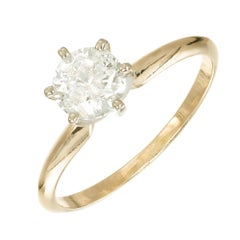 .90 Carat Round Diamond Gold Solitaire Engagement Ring
