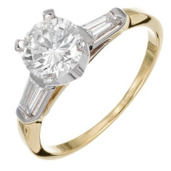 .90 Carat Round Diamond Three-Stone Yellow Gold Engagement Ring